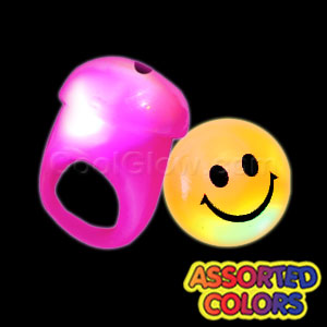 LED Jelly Smiley Face Rings - Assorted