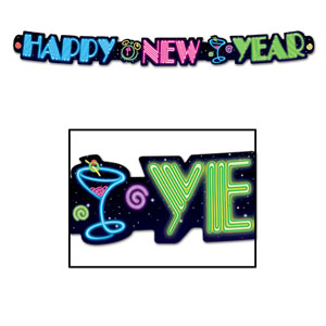 Neon Happy New Year Streamer - 3ft