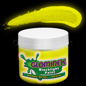 Glominex Blacklight UV Reactive Paint 4 oz Jar - Yellow