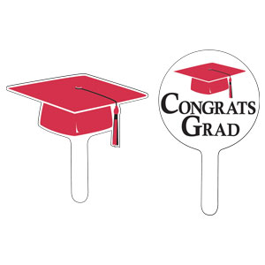 Grad Cap Cupcake Pick - Red
