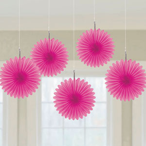 Mini Hanging Fan Decor- Pink 5ct