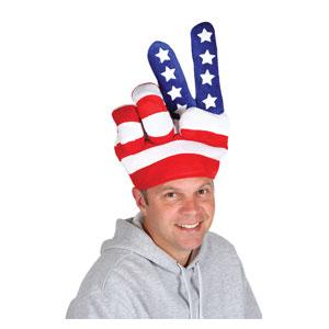 Patriotic Peace Plush Hat - Fits Most