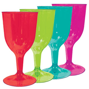 Assorted Color 8 Ounce Wine Glasses- 20ct