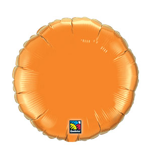 18 Inch Round Metallic Balloon- Orange