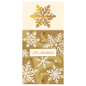 Gold Elegant Long Invitations - 8ct