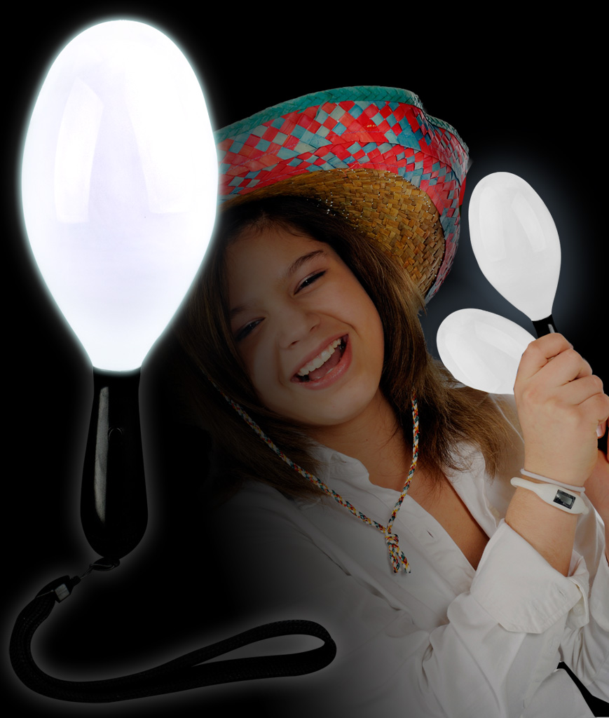 LED Maraca Supreme - White 7 Inch