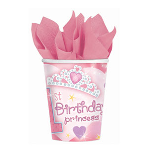 First Birthday Princess 9oz Cups - 18ct