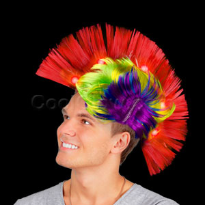 Fun Central AD156 LED Light Up Mohawk Wig - Multicolor