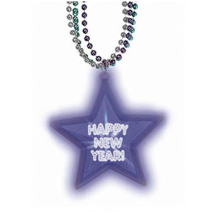 Light-Up New Years Star Necklace- 32 Inch