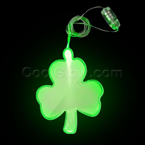 LED Shamrock Pendant Necklace