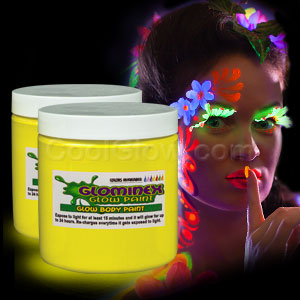 Glominex Glow Body Paint 8 oz Jar - Yellow