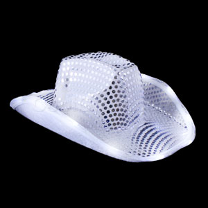 LED Sequin Cowboy Hat - Silver