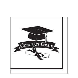 Grad Luncheon Napkins - White