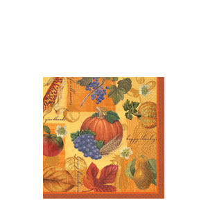 Thanksgiving Scrapbook Beverage Napkins- 16ct
