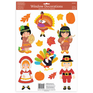 Thanksgiving Vinyl Window Decorations- 13ct