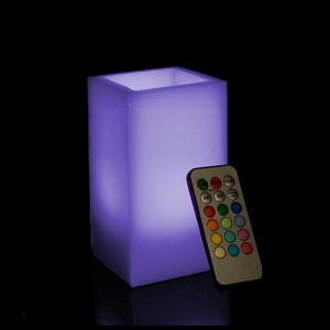 6 Inch Flameless Remote Control Square Pillar Candle - Multicolor