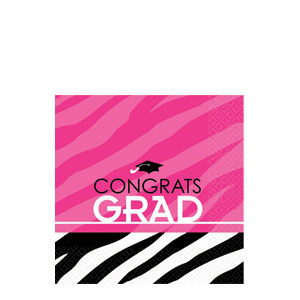 Zebra Party Grad Beverage Napkins- 16ct