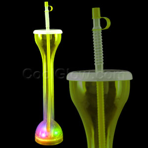 LED Drinking Bottle with Straw - Yellow