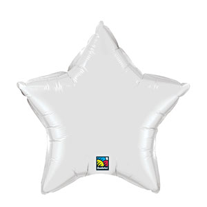 20 Inch Star Metallic Balloon- White