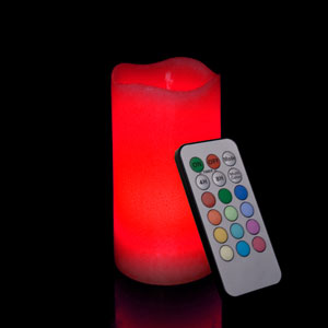 6 Inch Flameless Remote Control Pillar Candle - Smooth Edge - Multicolor