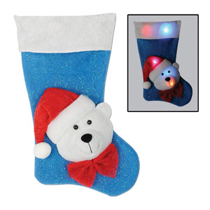 Light Up Polar Bear Stocking - 19in