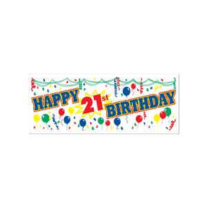 Happy 21st Birthday Banner - 5ft