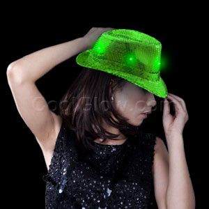 Fun Central O749 LED Light Up Sequin Fedora - Green