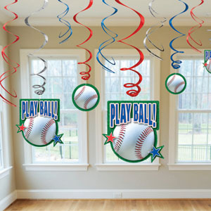 Baseball Swirl Decorations- 12ct