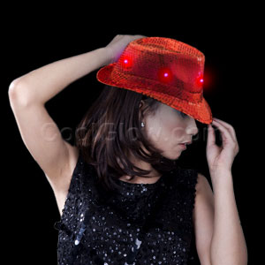 LED Sequin Fedora - Red