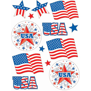 Patriotic Window Decorations - 13ct