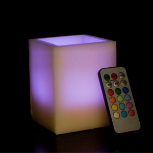 4 Inch Flameless Remote Control Square Pillar Candle - Multicolor