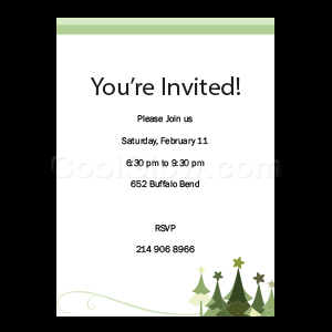 Green Star Holiday Trees - Custom Invitations