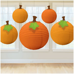 Fall Pumpkin Paper Lantern- 5ct