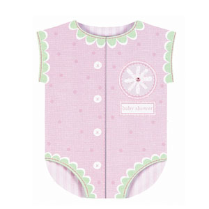 Onesie Novelty Baby Shower Invitation Cards - Pink