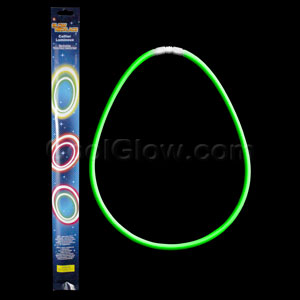 22 Inch Retail Packaged Glow Necklaces - Green