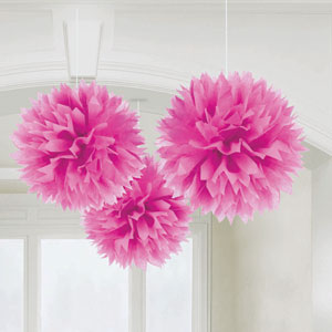 Fluffy Decorations- Pink 3ct