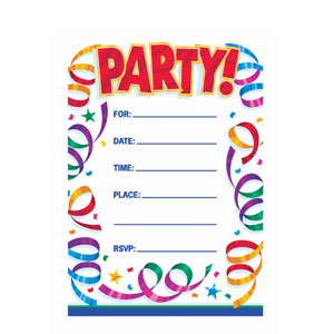 Party Streamers Invitations- 8ct