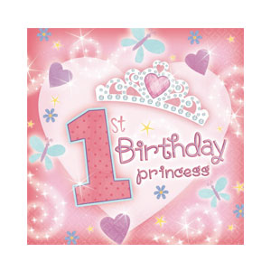 First Birthday Princess Beverage Napkins - 36ct