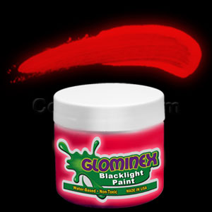 Glominex Blacklight UV Reactive Paint 2 oz Jar - Red
