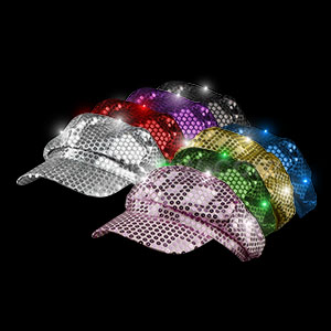 LED Sequin Newsboy Hat - Assorted