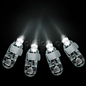 Fun Central AC634 LED Light Up Finger Lights - White 4ct