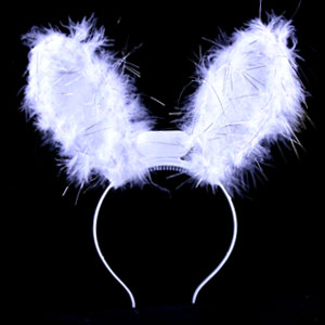 Fun Central R361 LED Light Up Bunny Ears Premium - White