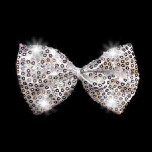 LED Sequin Bow Tie - Silver