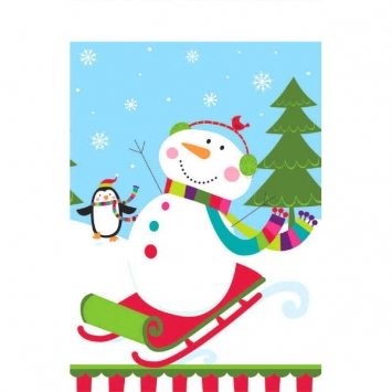 Joyful Snowman Plastic Table Cover