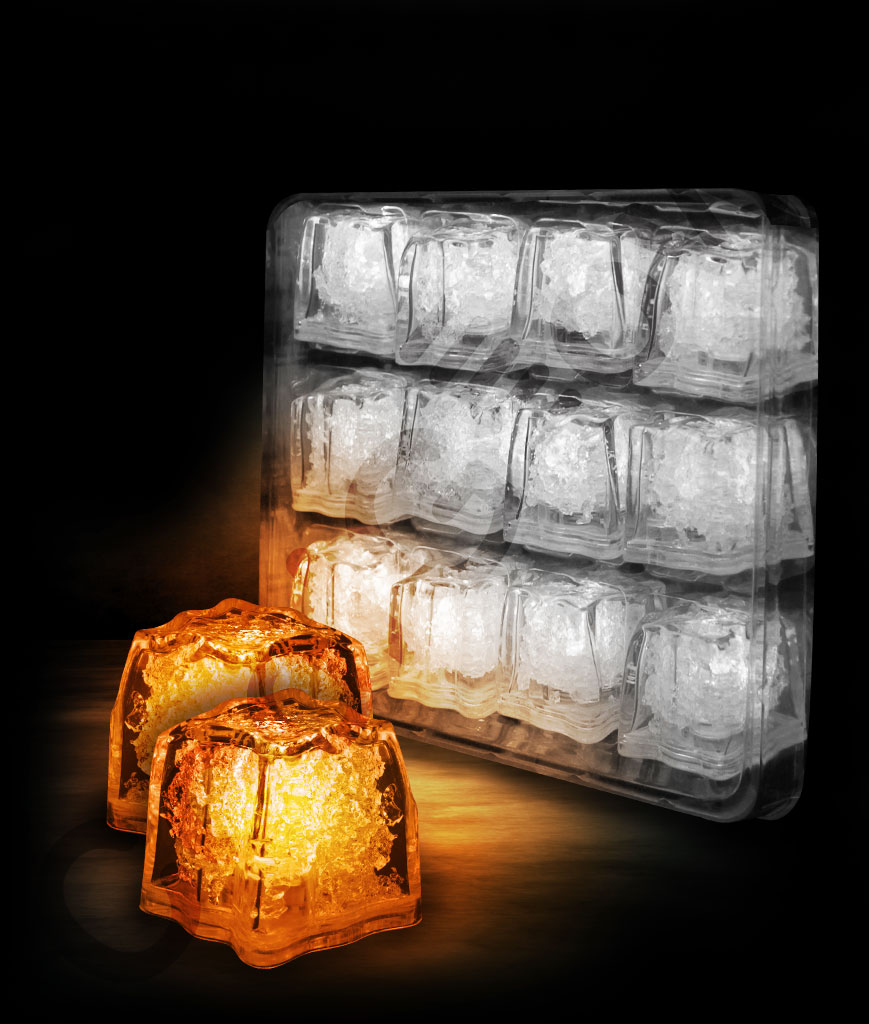 LED Litecubes Brand Ice Cubes - Orange