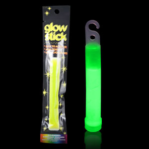 6 Inch Retail Packaged Glow Stick - Green