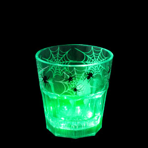 LED Halloween Rocks Glass - 8 oz. Green Spiders