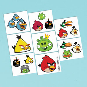 Angry Birds Tattoo Favors- 16ct
