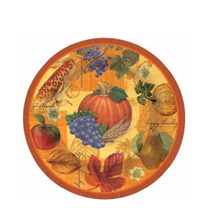 Thanksgiving Scrapbook 7 Inch Plates- 8ct