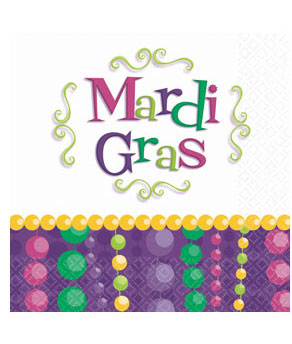 Mardi Gras Celebration Beverage Napkins